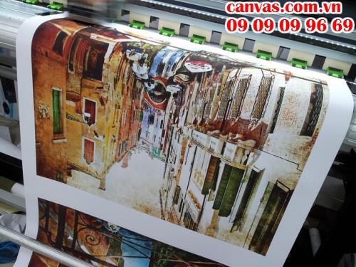 Trực tiếp in tranh canvas trên máy in khổ lớn tại In Kỹ Thuật Số