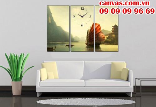 In tranh đồng hồ ghép treo tường từ chất liệu canvas, chất liệu in tranh giá rẻ