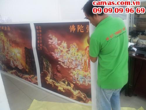 In tranh canvas cúng dường cho Chùa tai In Kỹ Thuật Số