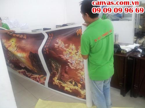 In canvas cúng dường cho chùa từ In Kỹ Thuật Số | In canvas mực dầu bóng,